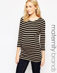 New Look Maternity 3 4 Sleeve Popper Stripe Boatneck Top Blackpattern