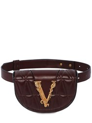 Versace Quilted Leather Belt Bag Chocolate