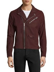 The Kooples Moto Biker Leather Jacket Burgundy