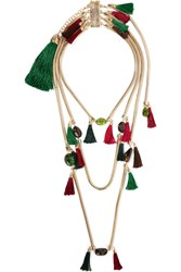 Rosantica Frivola Tasseled Gold Tone Tourmaline Agate Necklace