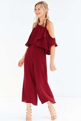 The Fifth Label Lovers Friends Cold Shoulder Culotte Jumpsuit Maroon