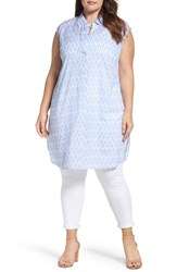 Vince Camuto Plus Size Women's Two By Ikat Stars Cotton Blend Long Tunic