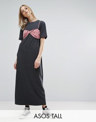 Asos Tall Maxi T Shirt Dress With Bra Top Black