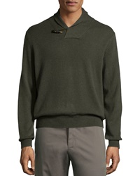 Neiman Marcus Cashmere Shawl Collar Toggle Sweater Forest Hea