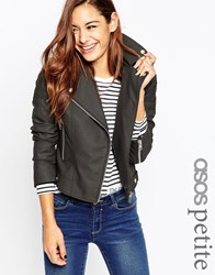 Asos Petite Ultimate Biker Jacket With Piped Detail Black