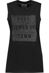 Zoe Karssen Love Comes To Town Printed Jersey Tank Black