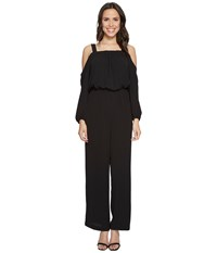 Vince Camuto Long Sleeve Cold Shoulder Jumpsuit Rich Black Women's Jumpsuit And Rompers One Piece