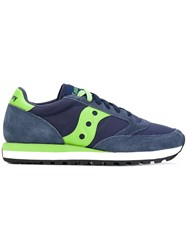 Saucony Panel Lace Up Sneakers Men Suede Nylon Polyamide Rubber 43 Blue