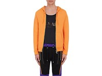 Balmain Men's Zip Front French Terry Hoodie Orange
