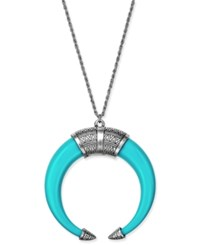 Macy's Silver Tone Turquoise Look Open Horn Pendant Necklace