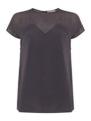 Label Lab Sheer Yoke Fabric Mix Tee Slate