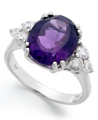 Macy's 14K White Gold Ring Amethyst 4 1 2 Ct. T.W. And Diamond 5 8 Ct. T.W. Oval Ring