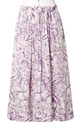Tibi Isa Denim Trimmed Printed Silk Crepe De Chine Skirt Lilac