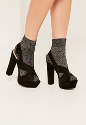 Missguided Black Cross Over Strap Platform Heels