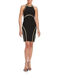 Xscape Evenings Mesh Accented Halter Dress Black Nude