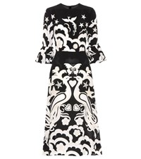 Valentino Printed Silk Midi Dress Black