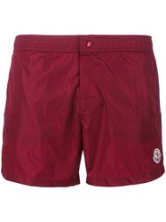 Moncler Logo Plaque Swimming Trunks Men Polyester Polyimide M Red