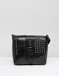 Urbancode Black Cross Body Bag With Pewter Studded Flap Black