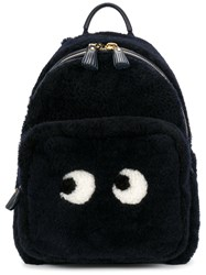 Anya Hindmarch Eyes Right Shearling Lined Backpack Women Sheep Skin Shearling One Size Blue