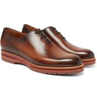 Berluti Alessio Whole Cut Polished Leather Oxford Shoes Brown