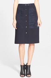 Theory 'Slyn' Ponte Midi Skirt Navy