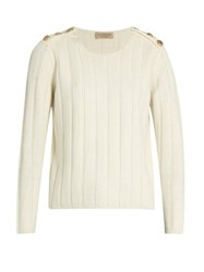 Burberry Rye Wool And Cashmere Blend Ribbed Knit Sweater Cream