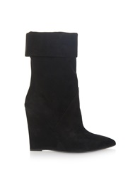 Saint Laurent Paris Point Toe Suede Wedge Boots