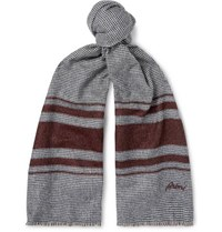 Brioni Logo Embroidered Striped Silk And Cashmere Blend Scarf Gray