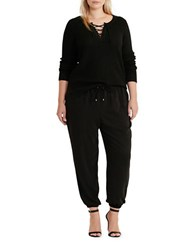 Lauren Ralph Lauren Plus Solid Drawstring Jogger Pants Polo Black