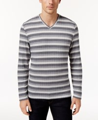 Alfani Men's Stretch Ribbed V Neck Striped Sweater Only At Macy's New Grey Combo
