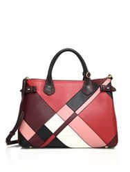 Burberry Banner Medium Patchwork Leather And House Check Satchel Pink