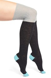 Women's Free People 'Back Together' Colorblock Over The Knee Socks Blue Grey Navy
