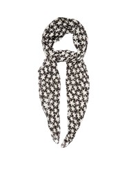 Saint Laurent Star Print Wool Scarf Black White
