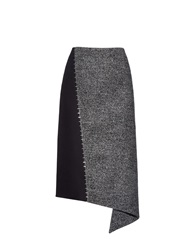 Balenciaga Staples Detail Wool Blend Midi Skirt