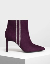 Charles And Keith Glitter Stripe Detail Ankle Boots Prune