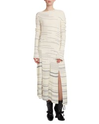 Loewe Striped Long Sleeve Knit Dress Blue White Blue White