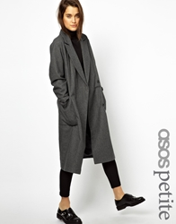 Asos Petite Oversized Wrap Front Coat Charcoal
