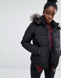 Only Short Real Down Padded Jacket With Faux Fur Hood Black