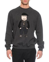 Dolce And Gabbana Old Man Applique Crewneck Sweatshirt White Black Gray