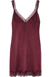Stella Mccartney Minnie Sipping Lace Trimmed Stretch Silk Chemise