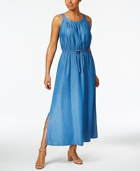 Style And Co Denim Maxi Dress Only At Macy's Sun Wash