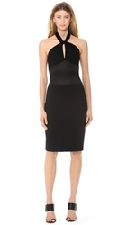 Jason Wu Ponte And Satin Halter Neck Dress Black