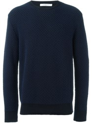 Givenchy Fishnet Embroidered Sweater Blue