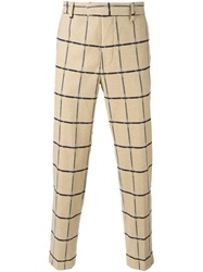 Msgm Grid Print Trousers Nude And Neutrals
