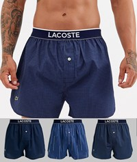 Lacoste 3 Pack Authentic Woven Boxers Multi