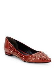 Kenneth Cole Roland Studded Leather Point Toe Flats Cognac Cognac Red