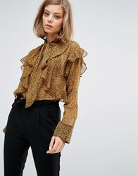 Sister Jane Chiffon Blouse With Frills In Leopard Leopard Brown