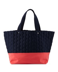Neiman Marcus Honeycomb Colorblock Neoprene Tote Bag Navy Coral