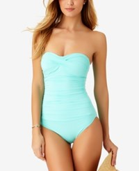 Anne Cole Twist Front Bandeau One Piece Swimsuit Swimsuit Turquioise