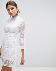 Boohoo Embroidered Mesh Tiered Lace Dress White